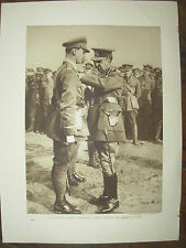 VINTAGE 1914 WWI MAGAZINE PRINT - CANADIAN OFFICER RECEIVING MILITARY CROSS