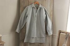 Vintage French night shirt nightshirt men's smock cotton fabric  blue stripe