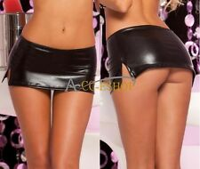 Sexy Black Leather Women's Lingerie Mini Skirt Fetish Wet Look Clubwear G-string