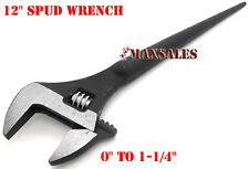 "12"" ADJUSTABLE SPUD WRENCH TAPERED HANDLE FOR ALIGNING BOLTS"
