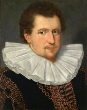 Oil painting Handsome mighty male portrait wearing Gorgeous clothes in 16C