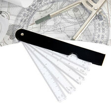 Foldable Fan Plastic Architect Engineering Scale Ruler, Handheld Measure Ruler
