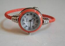 Fashion designer Orange/Silver finish Cable Band Ladies Bangle Cuff Watch