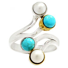 Two Tone Pearl 925 Sterling Silver Ring Jewelry RR18