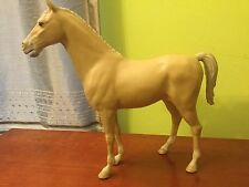 VTG 1965 Louis Marx & Co. Inc. Plastic Horse Tan White W/4 Wheels