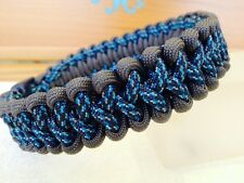 "Praying Arm Paracord Dog Collar 8""-16"" Grey/Blue Spec Camo"