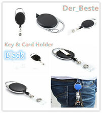 New Retractable Reel Pull Key ID Card Badge Tag Clip Holder Carabiner Style DH