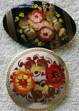 2 Russian traditional lacquered art brooches pins floral flowers hand-painted #5