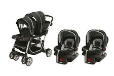 Baby Stroller Graco Travel System Double Twin with 2 Infant Car Seats, Black