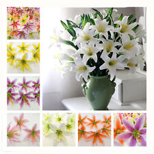 10pcs Yellow Lot Artificial Lily Silk flower Head DIY Assembled Party Decoration
