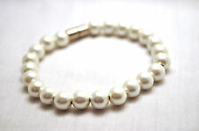LADIES 7.5 INCH MAGNETIC THERAPY PEARLIZED HEMATITE BRACELET: 8 MM White Pearls