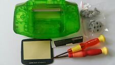 CARCASA COMPLETA+PANTALLA COMPATIBLE GAME BOY ADVANCE CLEAR GREEN NEW/NUEVO