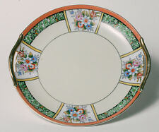 Vintage Art Deco NORITAKE CAKE PLATE - Multicolored Deco Flowers- Sheldon & Sayo