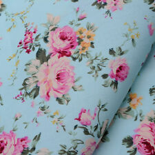 "Cottage Chic Victoria Shabby Pink Roses on Aqua Fabric BTHY~ 42"" wide"
