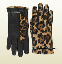 GUCCI Leather Jaguar Print Designer Fur Gloves Interlocking G Detail Size 8 $635