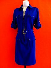 MICHAEL KORS  ROYAL BLUE  3/4  ROLL UP SLEEVE SHIRT  DRESS with BELT size  M