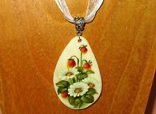 Russian hand painted UNIQUE White Lip SHELL pendant Wild Strawberry & Daisies