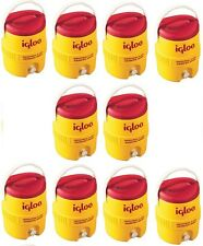 10 Igloo 421 2 gallon Yellow / Red Plastic Commercial Drinking Water Coolers