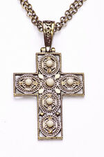 GOLD METAL DOUBLE CHAIN ADJUSTABLE NECKLACE W CROSS PENDANT W BEIGE GEMS (ZX44)