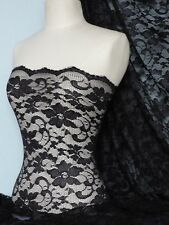 Black scalloped stretch lace with lycra fabric Q615 BK