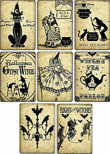 Vintage images Halloween witches pumpkin cat cards tags altered art set of 8