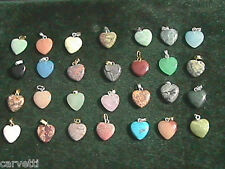 15mm Mixed Stone Heart Pendants (10) Silver & Gold Tone Bail Mix