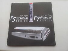 REMINGTON F5 Titanium F510 F520 F7 Diamond F710 720 Instructions Handbook Manual