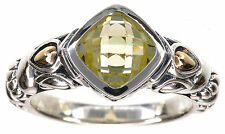 JAI John Hardy Lemon Quartz Gemstone Sterling Silver Gold Ring Size 7