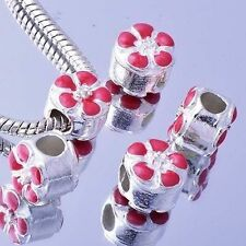 5Pcs Silver Filled Enamel Flower Charms Pink Beads European DIY Womens Bracelet