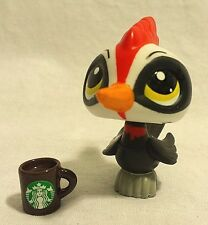 Littlest Pet Shop Woodpecker #3571 Black and White- with Starbucks Coffee Mug