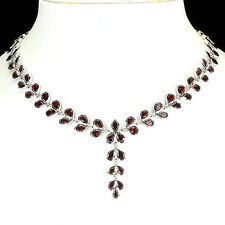 Silver 925 Genuine Pear Faceted Garnet Two Row Bezel Set Necklace 18.5 Inch