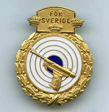 Sweden Air Pistol Shooting Award Gold Class Badge High Grade !!!