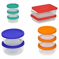 Pyrex Glass Containers 20 Piece Food Storage Set Color Lid Air Tight Cook Bake