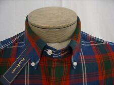 Mens Polo Ralph Lauren Pony L Shirt Button Down front Blue Navy Red Madras Plaid