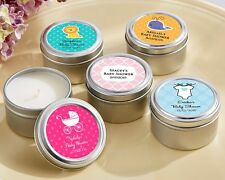 48 Personalized Round Candle Tins Baby Shower Favors