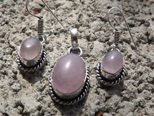 Handmade ethnic silver plated earrings and pendant with rose quartz cabochons