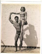 Mr America STEVE REEVES Pudgy Stockton Vintage Bodybuilding Muscle Photo B&W #2