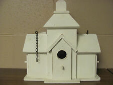 White Wood Church Birdhouse Replacement Wall Decor Sign Hanging Arrow