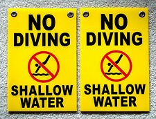 """2 NO DIVING SHALLOW WATER    8"""" x12"""" Plastic Coroplast Signs w/Grommets yellow"""