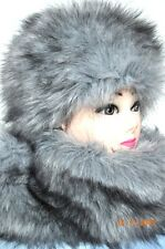 Fur Hat and Scarf Grey Fox fake fur Russian Style Winter Fluffy premium faux fur