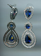 17.5 CARAT TW LAB CREATED SAPPHIRE & PAVE CZ DANGLE STATEMENT EARRINGS