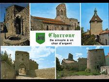 CHARROUX (03) EGLISE Fortifiée ,HORLOGE ,PORTE D'ORIENT ,BEFFROI, PUITS & BLASON