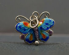 ANTIQUE VINTAGE CHINA CHINESE EXPORT SILVER ENAMEL BUTTERFLY CHARM FOB PENDANT