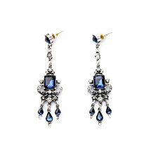 ZARA BEAUTIFUL BLUE CLEAR RHINESTONES 3'' DROP DANGLE EARRINGS – NEW