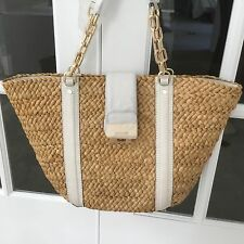 MICHAEL by Michael Kors Deneuve Straw Husk Large Tote Purse Beach Bag Gold Chain