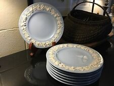 "Rare 1939 Wedgwood Embossed Queensware 10 1/2"" Dinner Plate White on Lavender"
