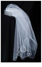 New Girls White Comb with Pearled Veil Headpiece First Communion Christening 11