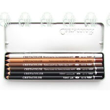 Cretacolor Artists OIL Pencil Pocket Drawing Tin Set. White,Black,Sanguine,Sepia