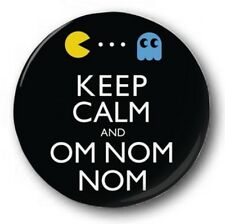 "'Keep Calm and Om Nom Nom' 25mm 1"" Button Badge -  Retro Gaming Pacman"