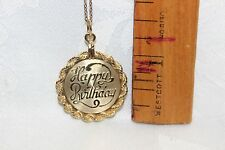 "12k Gold Filled over 929 Sterling Silver ""Happy B-Day"" Pendant w/GF ""18 Chain"